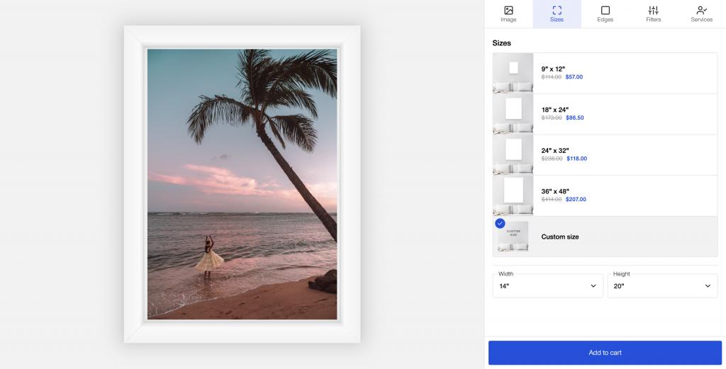 adding frame option canvaspop