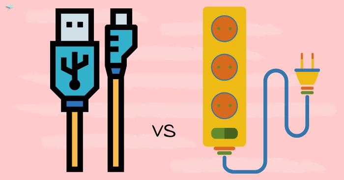 illustration of usb vs ac power