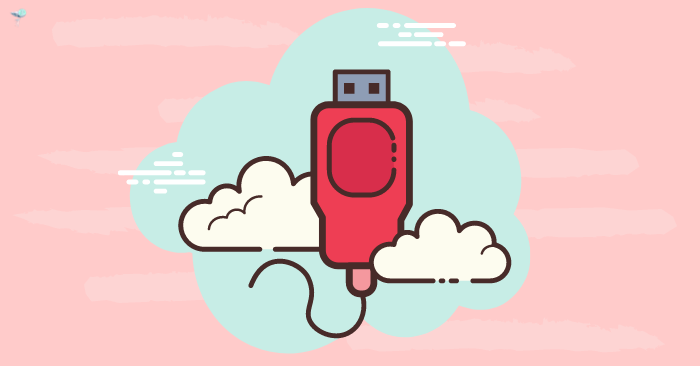 illustration of a usb cable in clouds