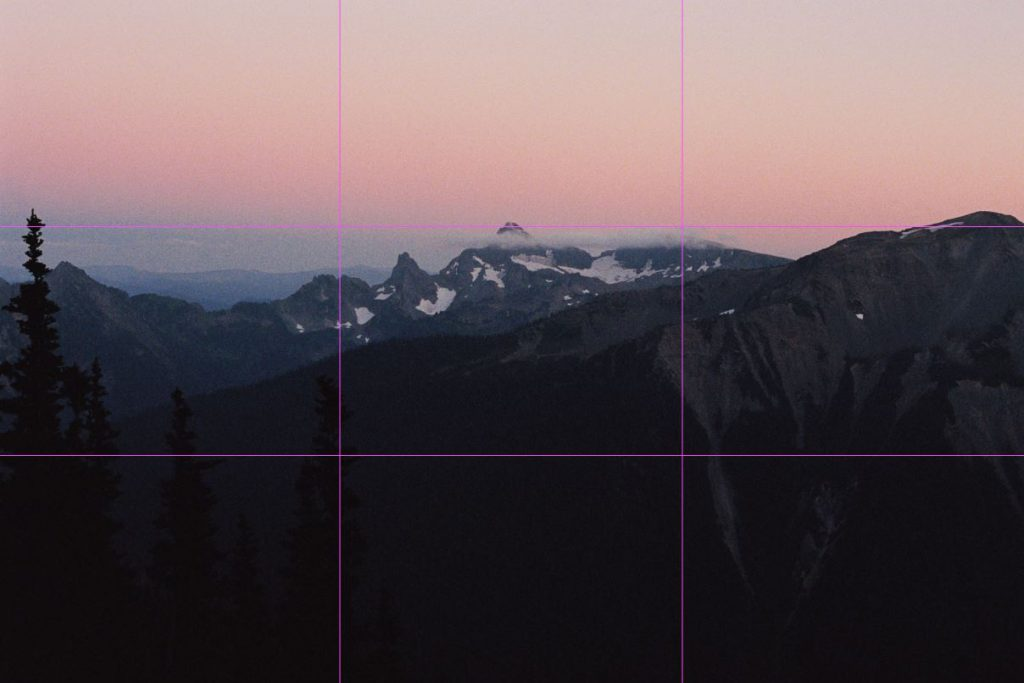image of post sunset glow with rule of thirds lines