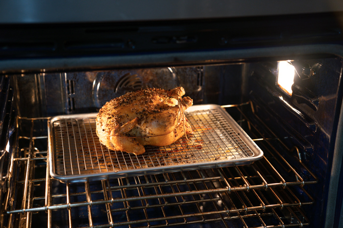 image of chicken roasting in the oven