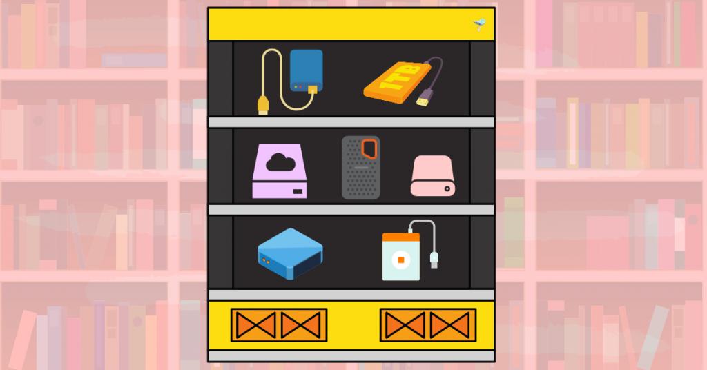illustration of hard drives on a shelf