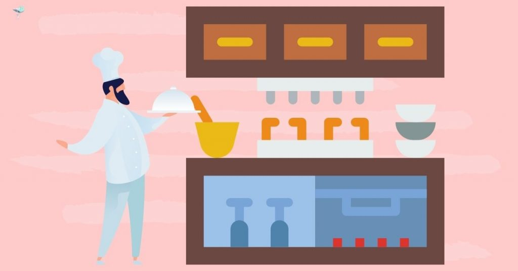 illustration of a chef in a kitchen