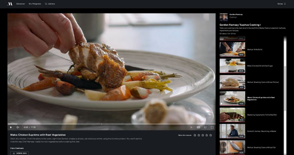 image of one of the classes for gordon ramsay masterclass