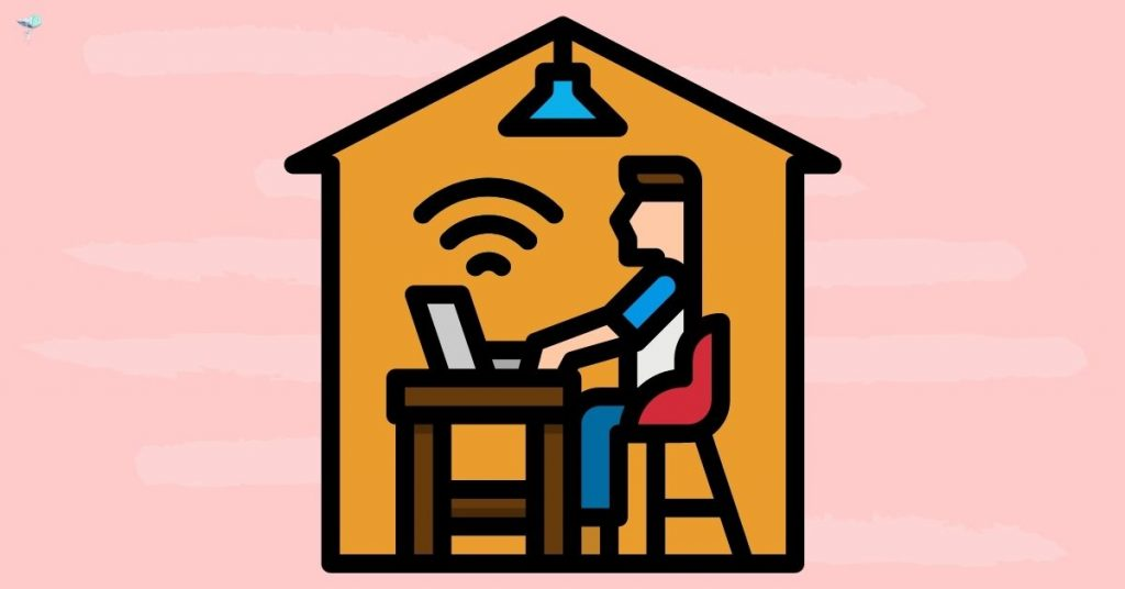 illustration of person in a house blogging