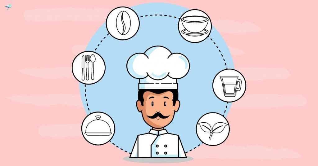 illustration of chef with thought bubbles around them