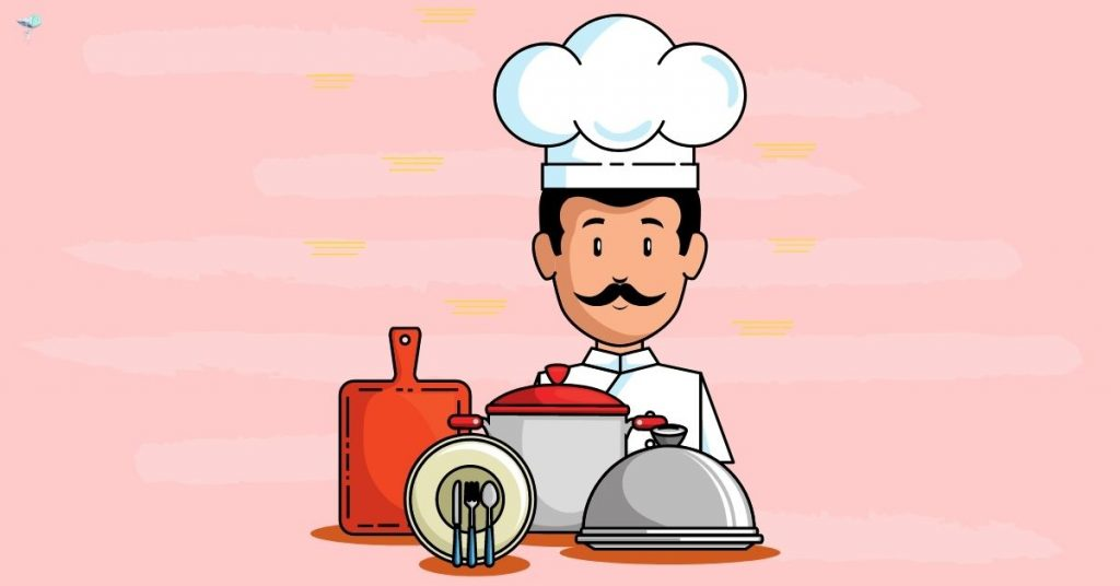 illustration of chef with pots and pans
