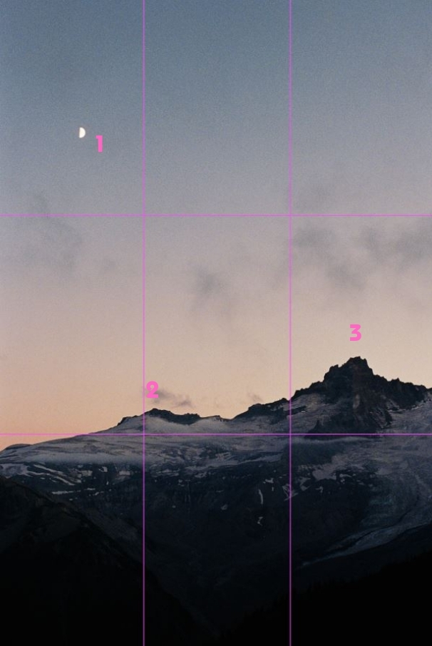 image of mountains and the moon with rule of third lines