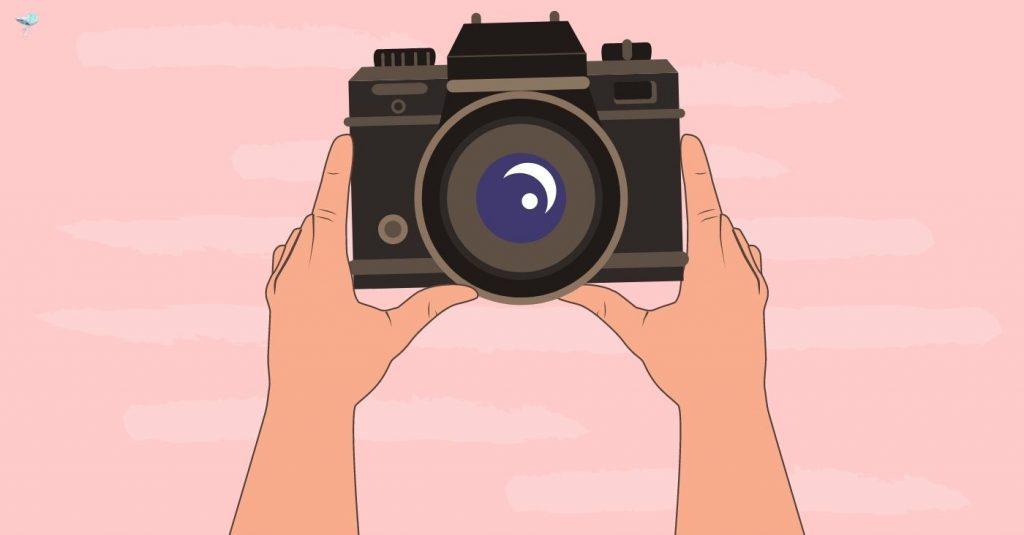 illustration of hands holding camera