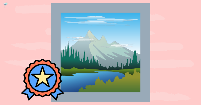 illustration of a landscape print with badge on it