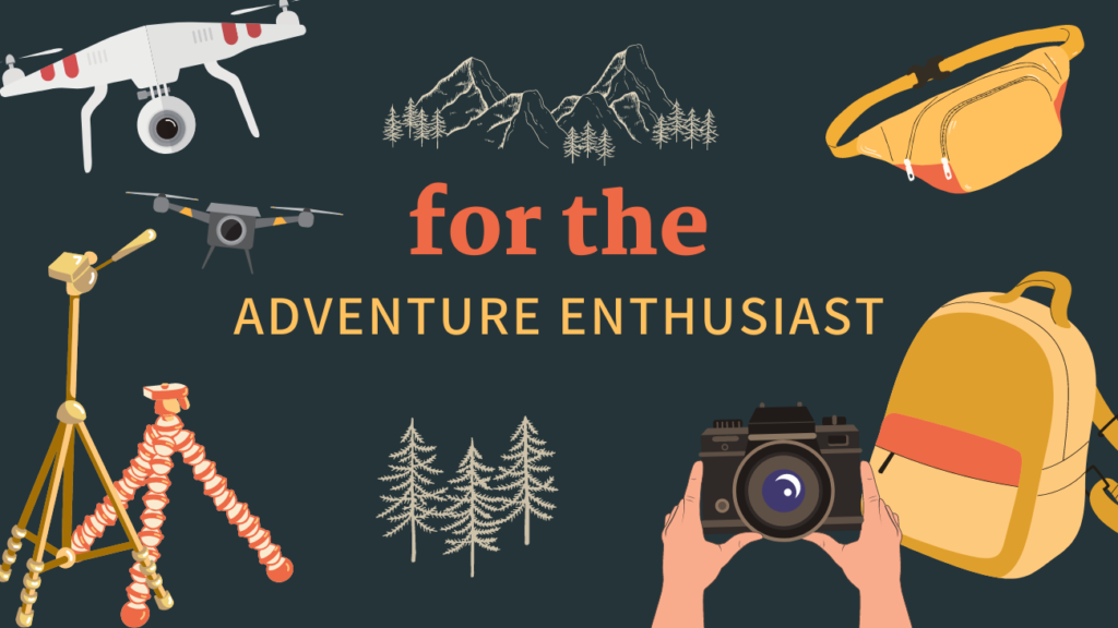 illustration of adventure enthusiast banner for gift guide