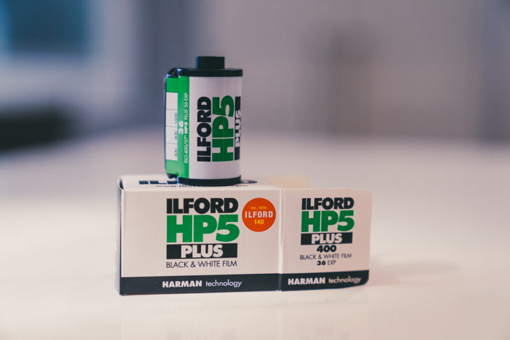 image of a roll of 35mm ilford hp5 film stock