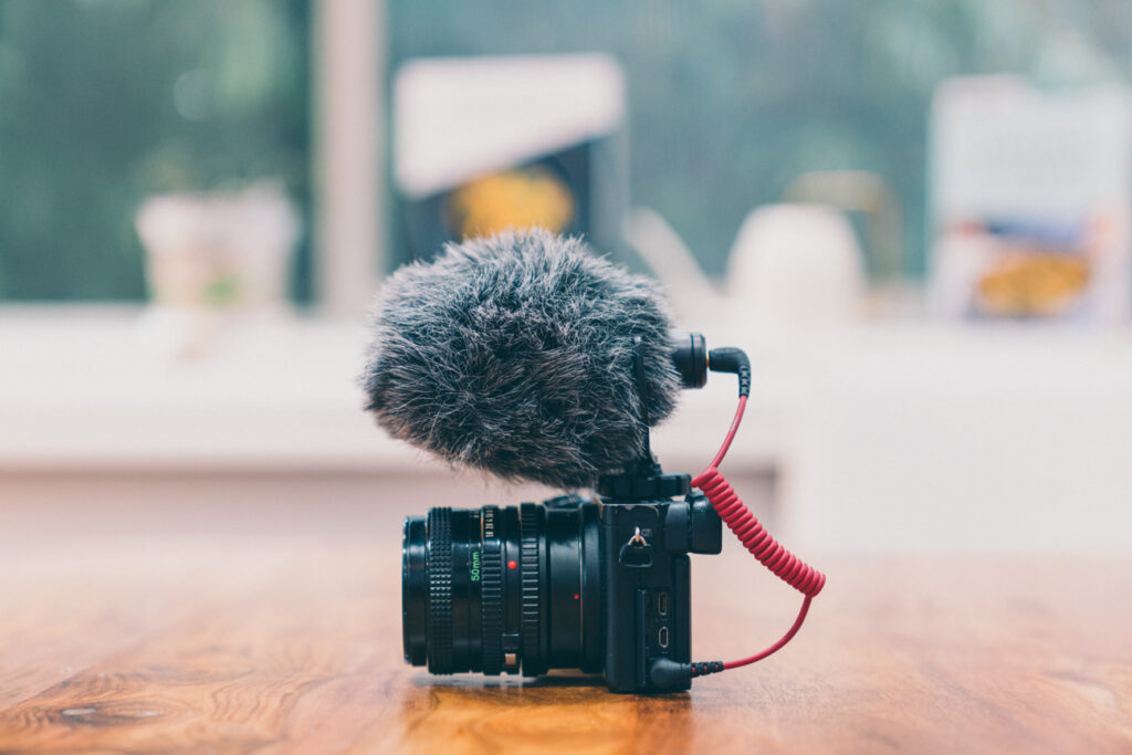 image of a small microphone connected to a black camera