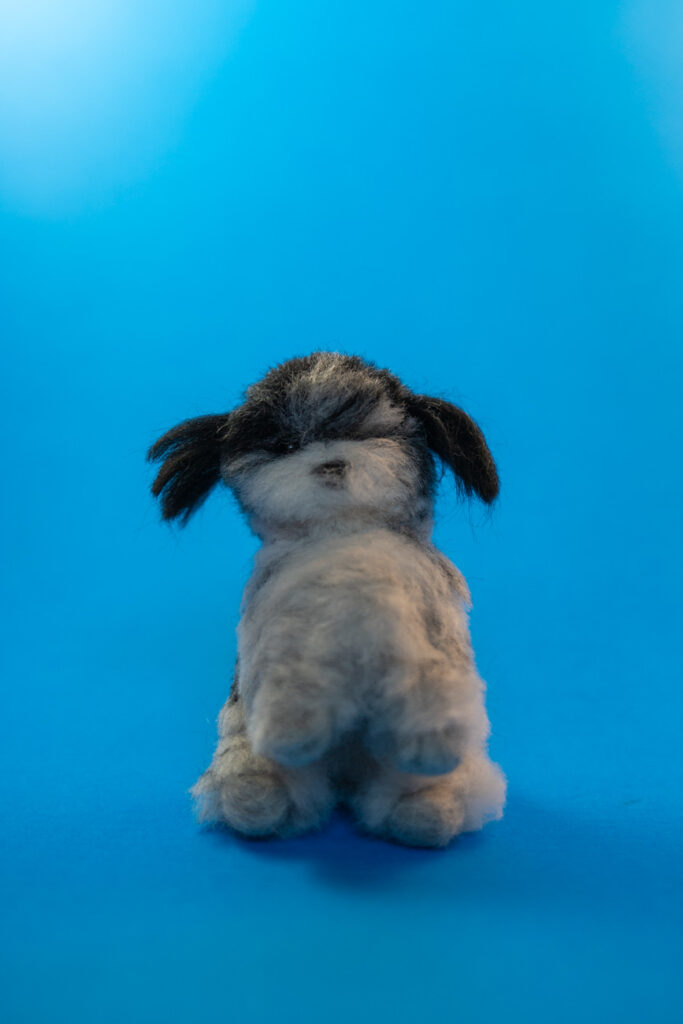image of a felted black and white dog