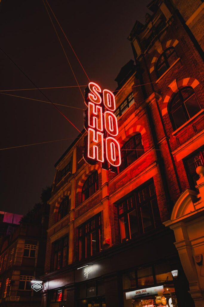 image of soho in london at night