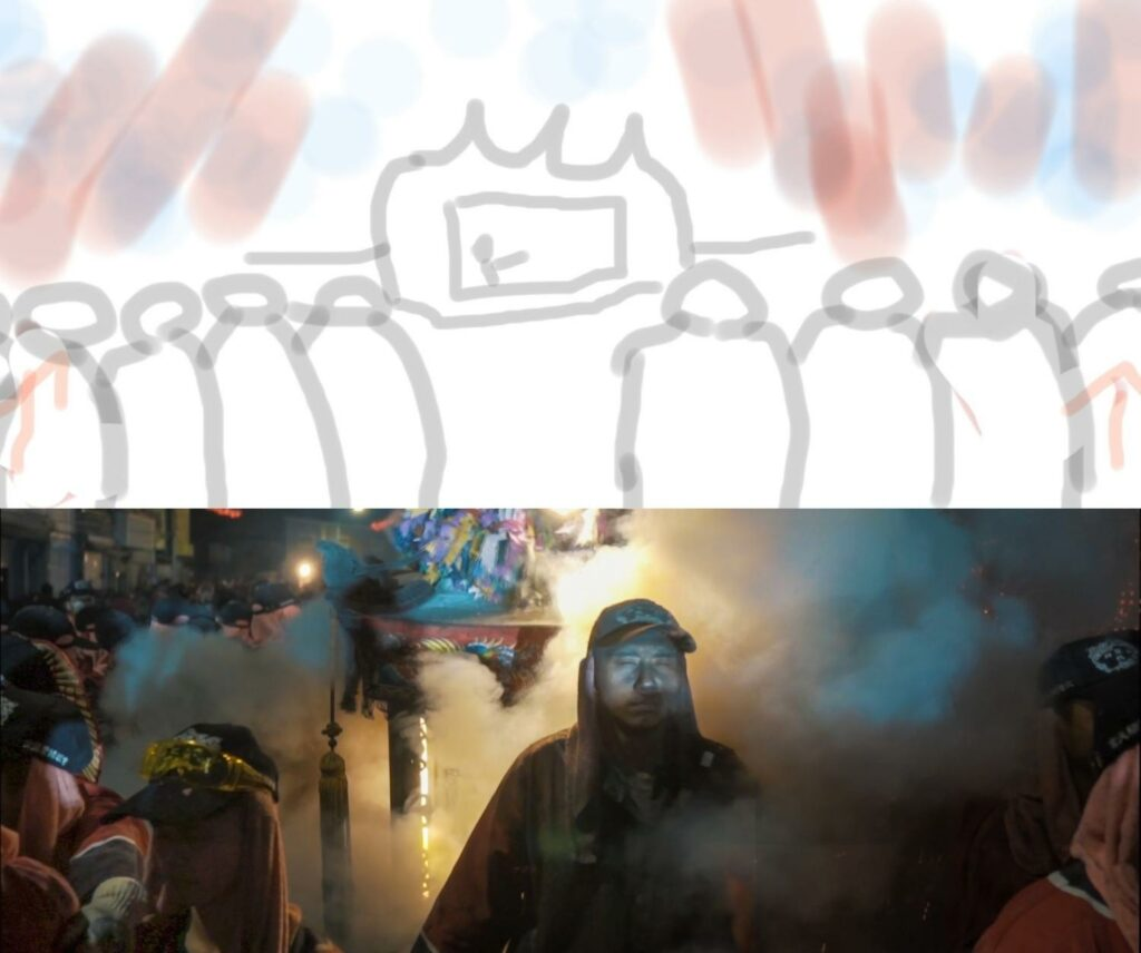 image comparing a storyboard drawing of the scene in film