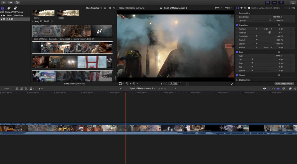 screenshot of final cut editing timeline