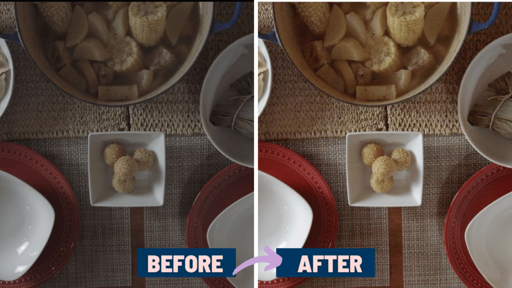 image comparing before and after color grading