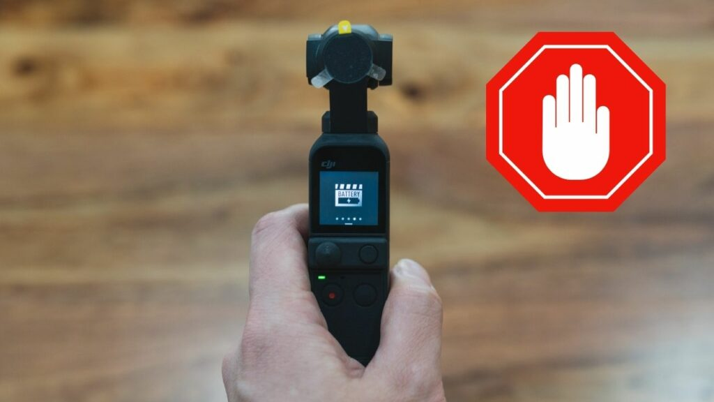 image with stop sign next to dji pocket 2 battery saver mode