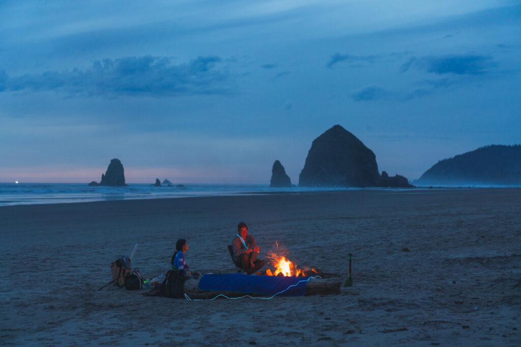 image of bonfire on cannon beach