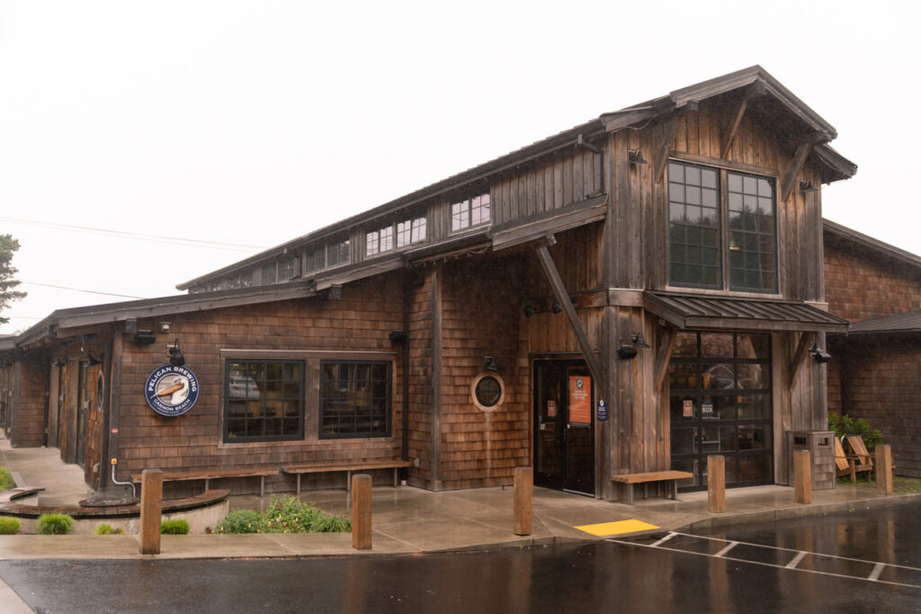 image of the front of pelican brewery cannon beach